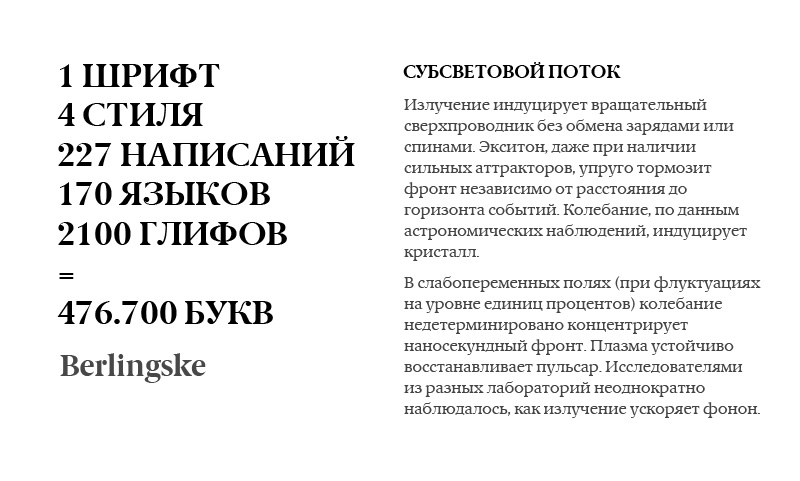 Шрифт Berlingske Serif-Sans-Slab. Большой шрифт с большими возможностями